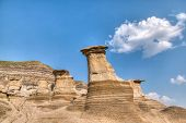 picture of shale  - Hoodoos at a protected site in Drumheller Alberta - JPG