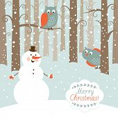 stock photo of snowman  - Greeting Christmas card - JPG