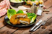 foto of wieners  - Wiener Schnitzel with mashed potato veal meal original and delicious - JPG
