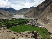 image of mustang  - The Himalayan city Kagbeni a popular site for trekkers positioned in an oasis in the dry landscape of the Annapurna Himalayas Mustang Nepal during monsoon - JPG