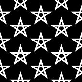 stock photo of pentacle  - Pentagram button seamless pattern on black background - JPG