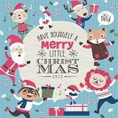 pic of christmas claus  - Christmas card with Santa Claus and friends - JPG