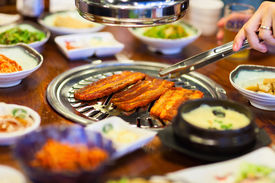 picture of kimchi  - Kimchi Korean cuisine barbecue grill meat and vegetables - JPG