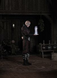 stock photo of sorcerer  - Fantasy illustration of a sorcerer in his study standing inside a magic circle and summoning a succubus - JPG