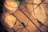 stock photo of relaxing  - Scented candles as attributes of rest and relaxation - JPG