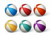 stock photo of bouncing  - Realistic Beach Balls Set in White Background - JPG