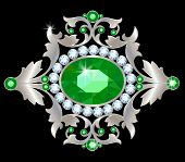 picture of brooch  - Vintage brooch with ornate silver and precious stone - JPG