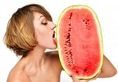 picture of licking  - Closeup portrait of pretty woman hold in hands and lick fresh red watermelon on a white background - JPG