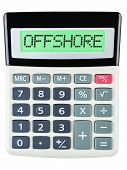 stock photo of offshoring  - Calculator with OFFSHORE on display isolated on white background - JPG