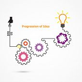 foto of prosperity sign  - Creative light bulb symbol with linear of gear shape - JPG
