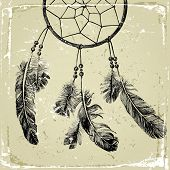 pic of indian  - hand drawn indian dream catcher  - JPG
