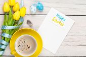 stock photo of egg whites  - Easter greeting card with blue and white eggs - JPG