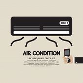 stock photo of air conditioning  - Hand Holding Remote Control Air Condition Vector Illustration - JPG