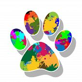picture of paw  - Illustration of colorful paw prints on a white background - JPG