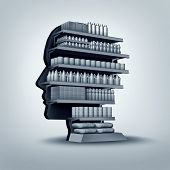foto of shelving unit  - Consumer and customer concept as a store shelving unit shaped as a human head with generic products for sale as an economic and business symbol for personalized marketing and branding thinking or shopper education - JPG