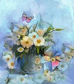 foto of vase flowers  - Abstract Flower oil painting with butterfly Vase with still life a bouquet of flowers - JPG