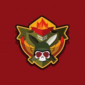 picture of special forces  - Military Emblem with a skull and the weapon - JPG