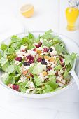 stock photo of romaine lettuce  - Salad in white bowl - JPG