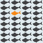 stock photo of goldfish  - Goldfish among grey crowd - JPG