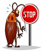 stock photo of cockroach  - Stop pest illustration with a funny cartoon cockroach - JPG