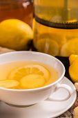 stock photo of ginger  - Close up of ginger tea with lemon - JPG