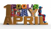 stock photo of fool  - 3D rendering clipart celebrating april fool - JPG