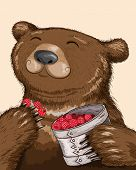 foto of bast  - Funny bear eating tasty raspberries from basket - JPG