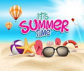 pic of  realistic  - Summer Time in Beach Sea Shore with Realistic Objects - JPG