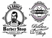 stock photo of barber  - set of vector emblems on a theme barber shop - JPG