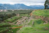 picture of sparta  - Ancient Greek ruins at the archaeological place at Sparta Greece - JPG