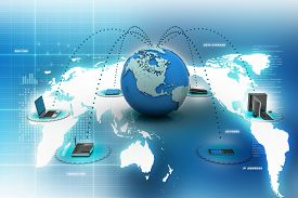 stock photo of network  - blue computer networking with globe computer networking with globe - JPG