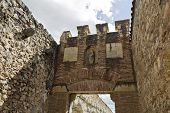 pic of aqueduct  - Detail of the gate to the roman aqueduct in Segovia Spain - JPG