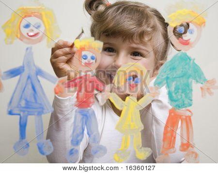 Постер, плакат: Семья маленькая девочка живопись на стекле, холст на подрамнике
