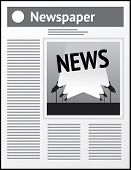 Vector grey newspaper icon with news image