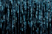 image of binary code  - blue matrix background computer generated - JPG