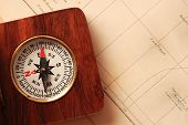 Antique Wooden Compass Over Old Map poster