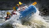 stock photo of raft  - whitewater rafting on the ocoee river rapids - JPG