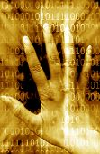 hand touching a background of binary numbers