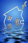 icon of an house sinking under water with dollars flying out of the chimney