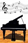 stock photo of grand piano  - classical grand piano with musical notes above it - JPG