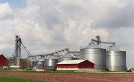 picture of farm landscape  - Horizontal landscape of modern farming operation in rural wisconsin - JPG