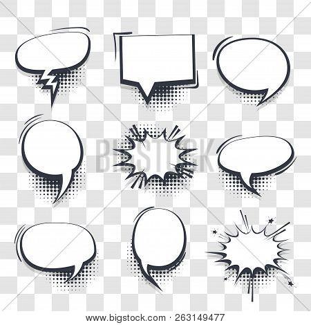 poster of Big Set Hand Drawn Blank Effects Template Comic Speech Bubbles Halftone Dot Vector Transparent Backg