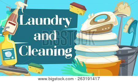 poster of House Cleaning, Laundry And Cleaning Items. Spray, Brush And Sponge, Detergent Bottle And Broom, Mop