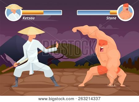 poster of Game Fighting. Screen Location Of Computer 2d Gaming Asian Fighter Vs Wrestler Luchador Vector Backg
