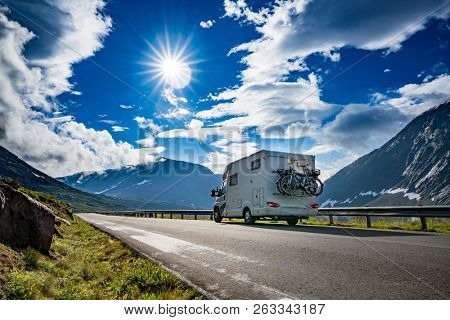 poster of Family vacation travel RV, holiday trip in motorhome, Caravan car Vacation. Beautiful Nature Norway