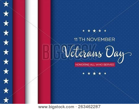 poster of Veterans Day Greeting Card. 3d Layered Effect Of American Flag With Greeting Text On Dotted Backgrou