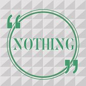 Text Sign Showing Nothing. Conceptual Photo Not Anything No Single Thing Or Value Absence Of Progres poster