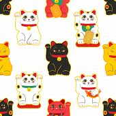 Maneki-neko Cat. Seamless Pattern With Sitting Hand Drawn Lucky Cats. Japanese Culture. Doodle Drawi poster