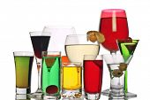 stock photo of alcoholic drinks  - a variety of alcoholic drinks - JPG