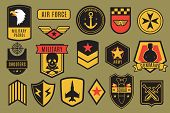 Military Badges. Usa Army Patches. American Soldier Chevrons With Wings And Stars. Emblem Vector Set poster